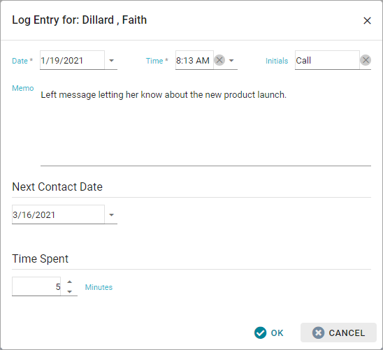 Contact Log Entry Form