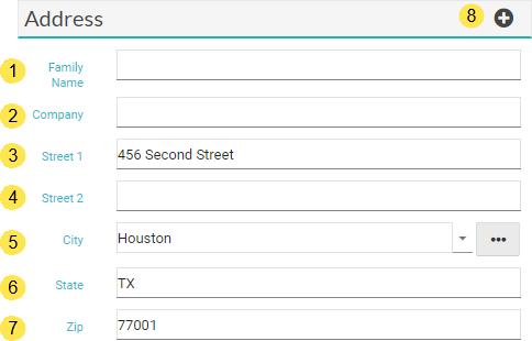 Main Tab: Address Section