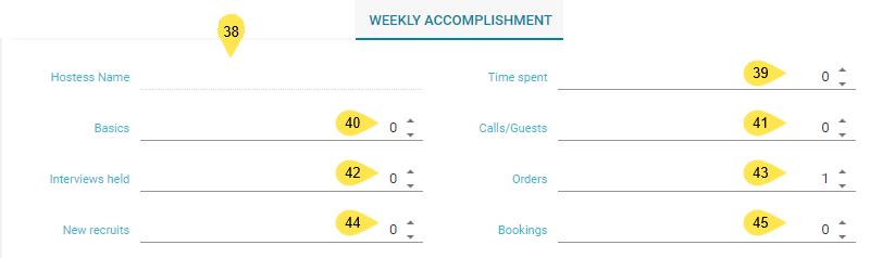 Weekly Accomplishment Tab